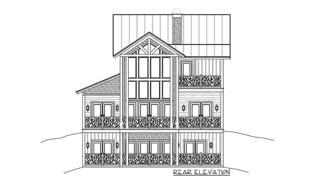 Rear elevation sketch of the two-story 4-bedroom rustic mountain home.