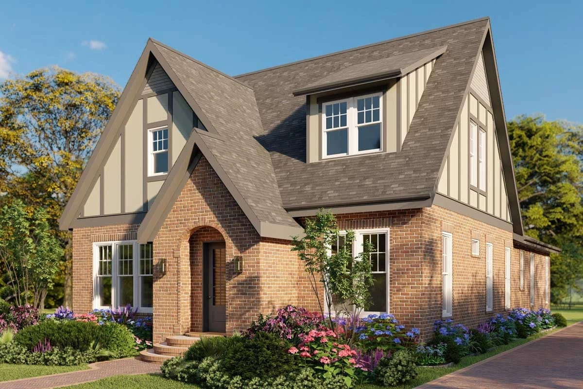 Right rendering of the two-story 5-bedroom modern Tudor home.Right rendering of the two-story 5-bedroom modern Tudor home.