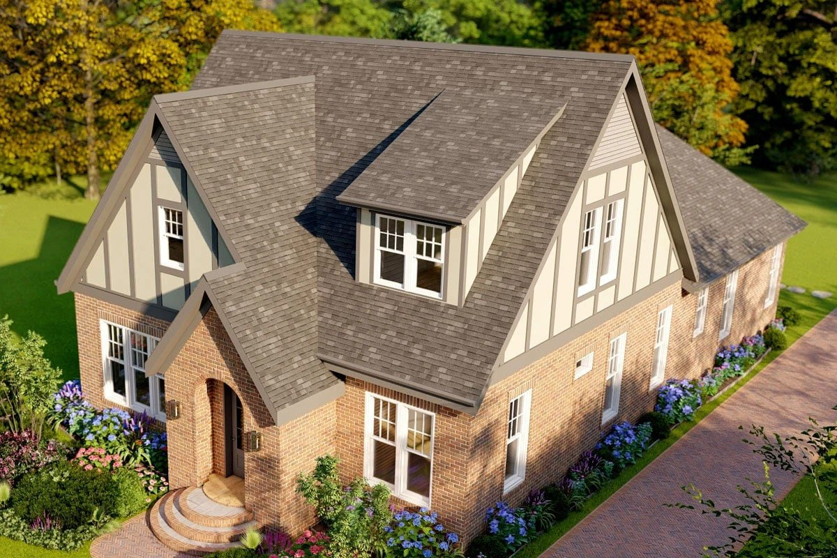 Aerial rendering of the two-story 5-bedroom modern Tudor home.