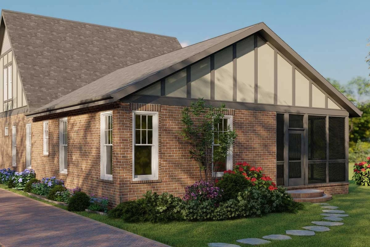 Rear rendering of the two-story 5-bedroom modern Tudor home.