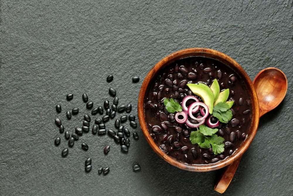 This is a bowl of vegan black bean chili.