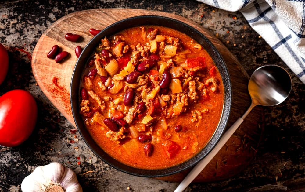 A hearty bowl of Texas red chili.