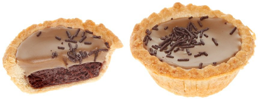 This is a close look at a couple of miniature Mississippi mud pies.