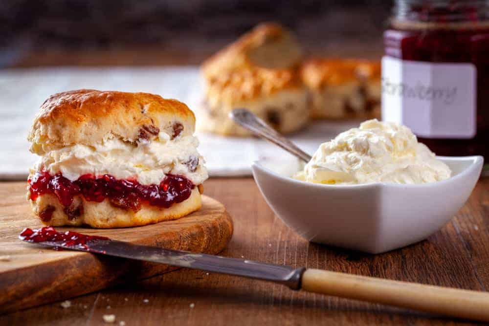 A close look at a clotted cream scone.