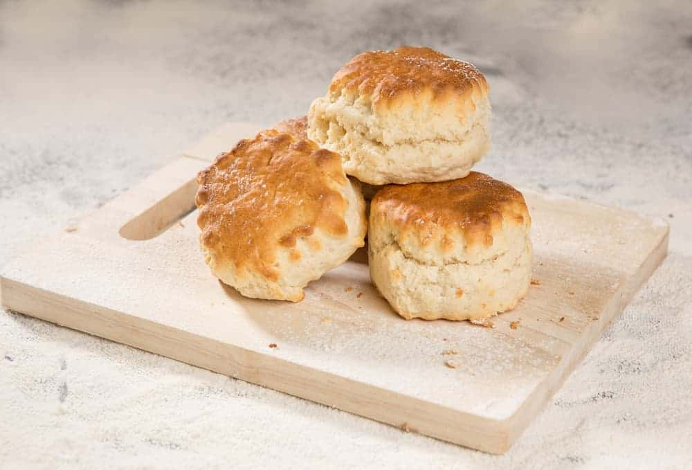 This is a close look at a stack of ordinary plain scones.