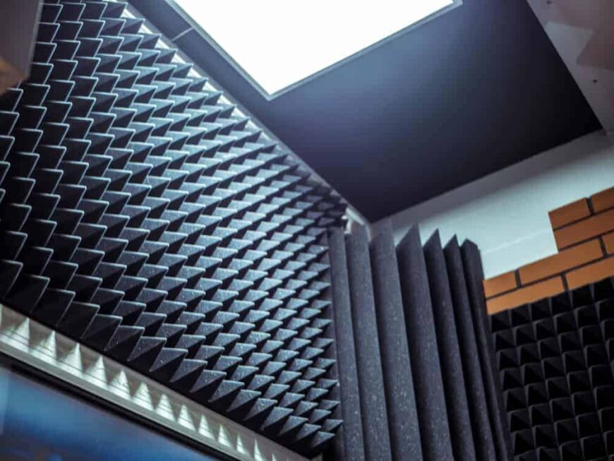 This is a close look at the acoustic foam padding of the walls for soundproofing.