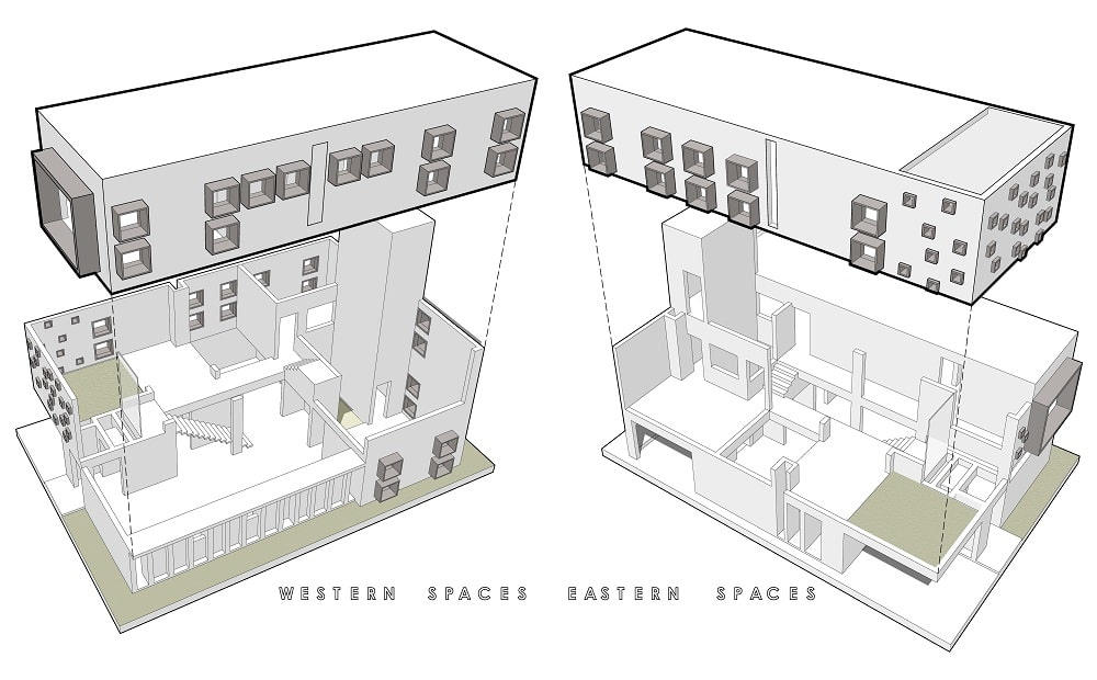This is an illustration of the house's eastern and western spaces isolated.