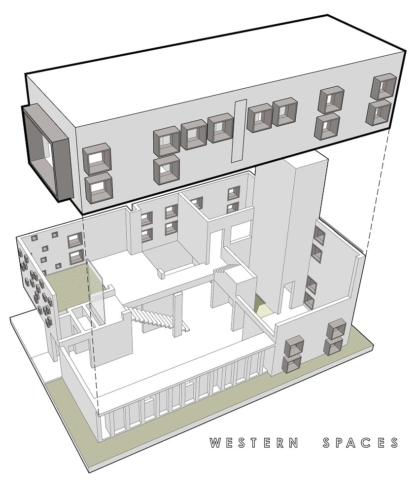 This is an illustration of the house's western spaces isolated.
