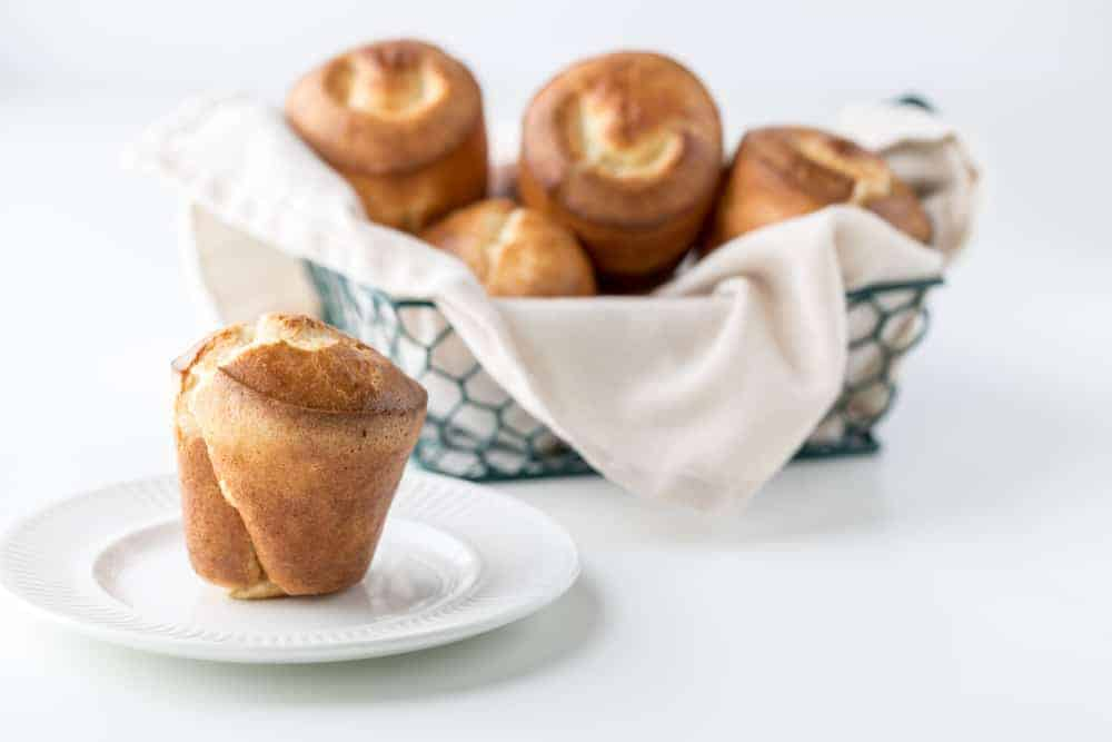 A basket of freshly-baked homemade popovers.