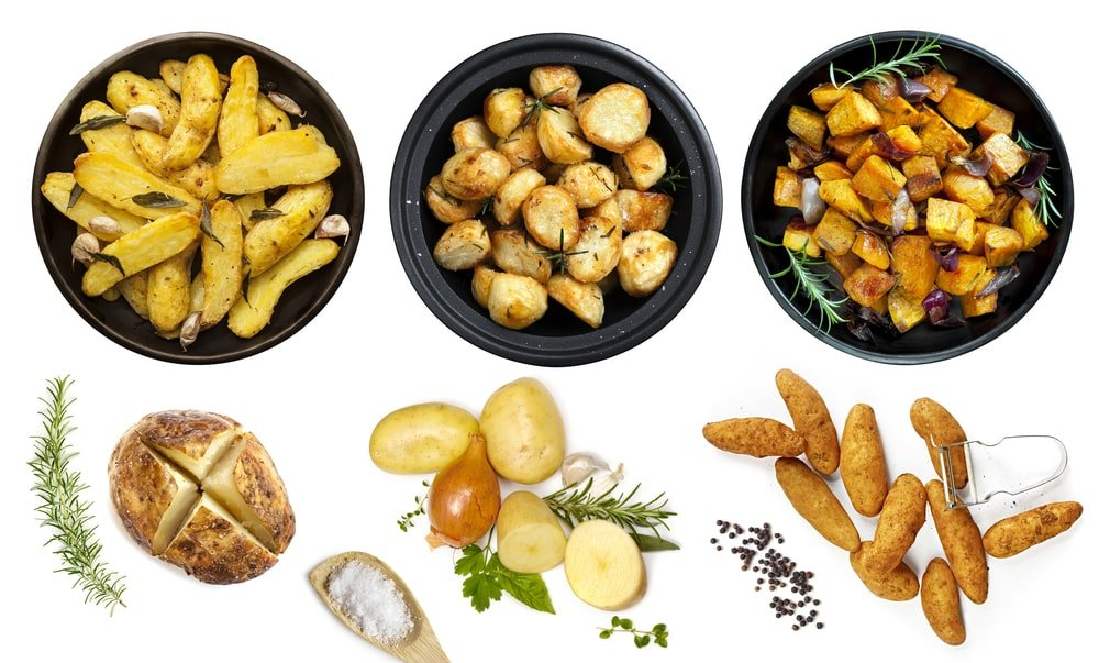 A close look at a variety of different potato dishes.