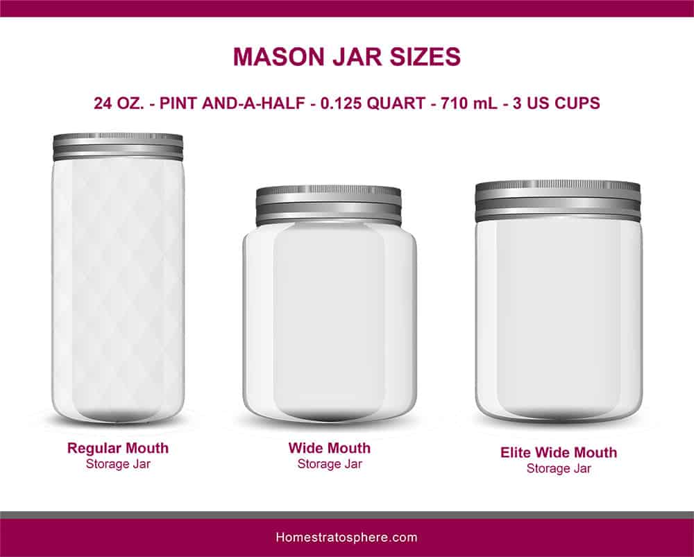 This is an illustrated diagram depicting the different mason jar sizes showcasing the regular mouth, wide mouth and elite wide mouth jars in 24 ounces.