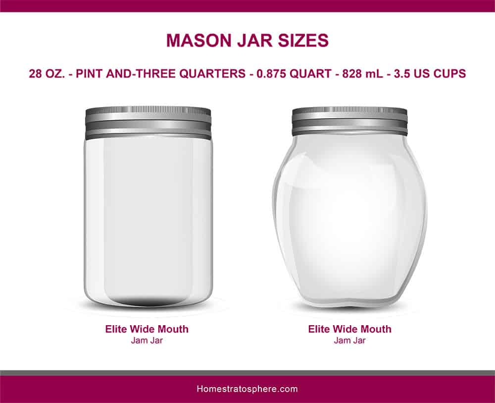 This is an illustrated diagram depicting the different mason jar sizes showcasing the elite wide mouth jars in 28 ounces.