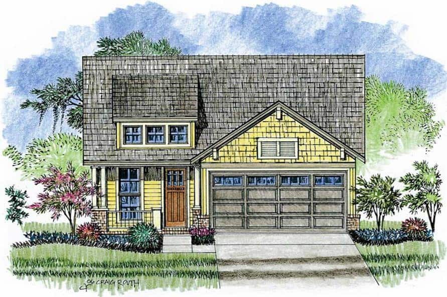 Front perspective sketch of the 3-bedroom single-story craftsman home.