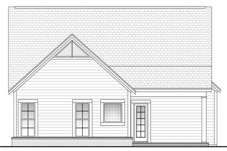 Rear elevation sketch of the 3-bedroom single-story craftsman home.