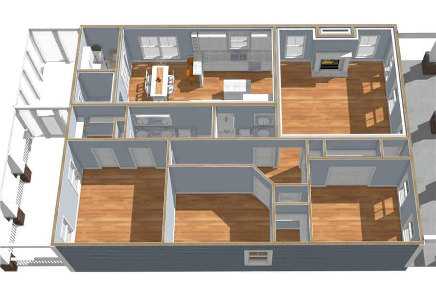 3d floor plan of the single-story 3-bedroom country style ranch.