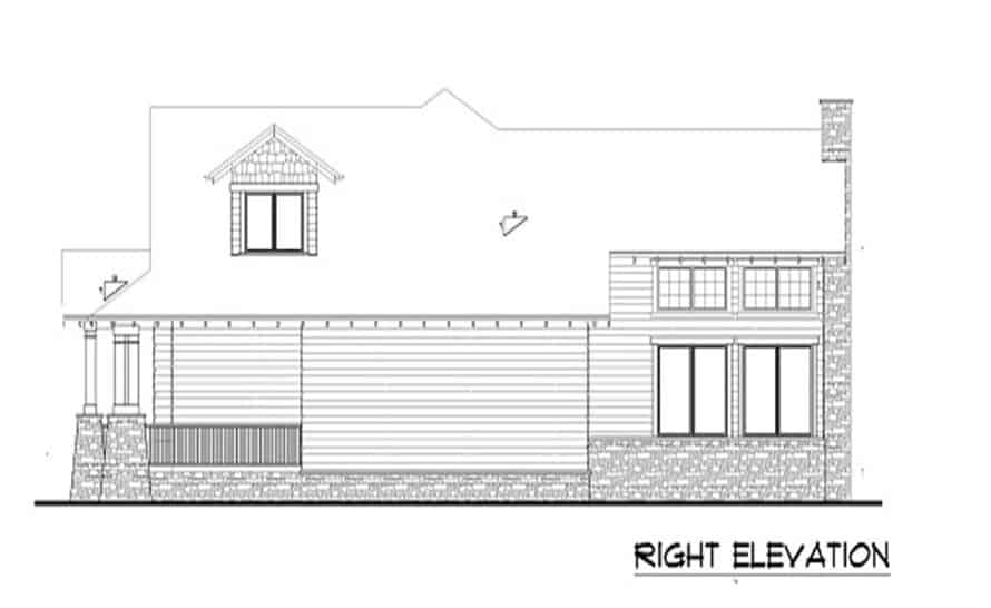 Right elevation sketch of the 4-bedroom two-story bungalow home.
