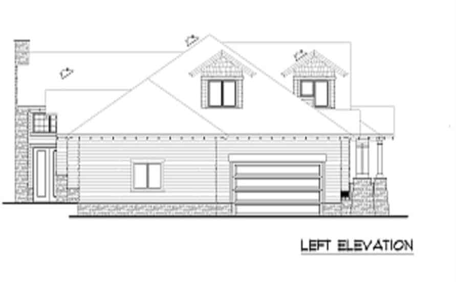 Left elevation sketch of the 4-bedroom two-story bungalow home.