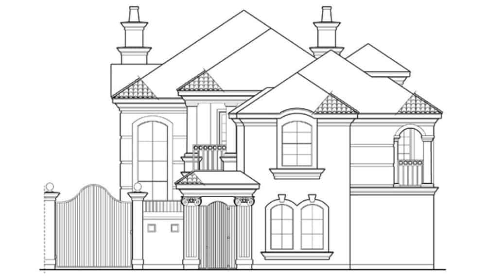 Front elevation sketch of the 4-bedroom two-story luxury Mediterranean home.