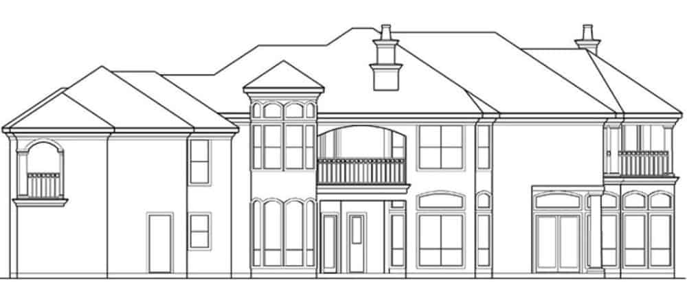 Right elevation sketch of the 4-bedroom two-story luxury Mediterranean home.