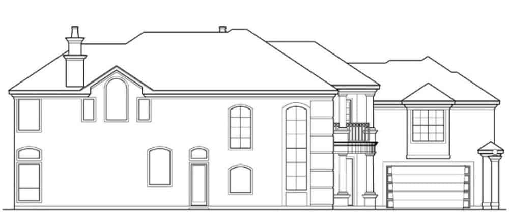 Left elevation sketch of the 4-bedroom two-story luxury Mediterranean home.