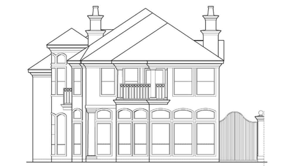 Rear elevation sketch of the 4-bedroom two-story luxury Mediterranean home.