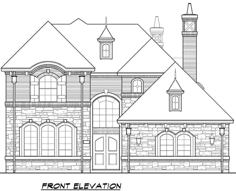 Front elevation sketch of the 4-bedroom two-story Mediterranean home.