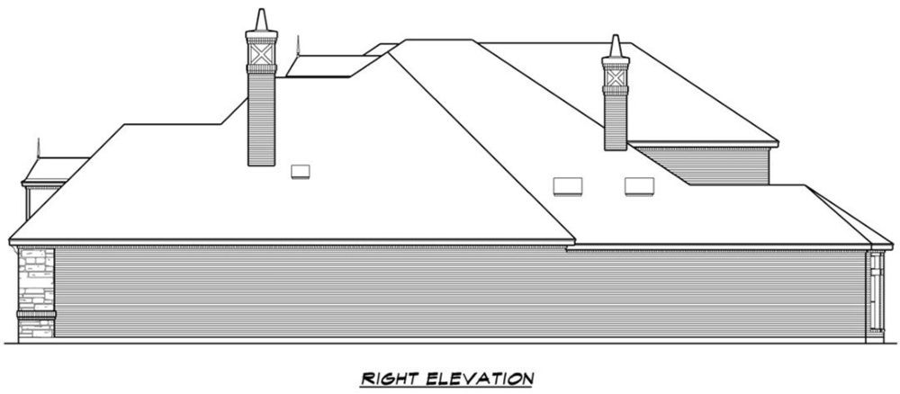 Right elevation sketch of the 4-bedroom two-story Mediterranean home.