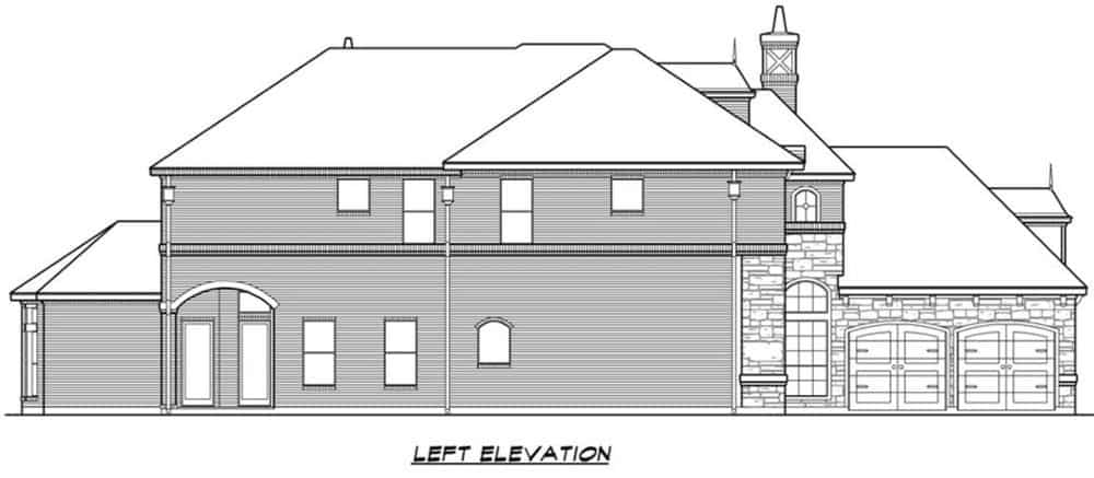 Left elevation sketch of the 4-bedroom two-story Mediterranean home.