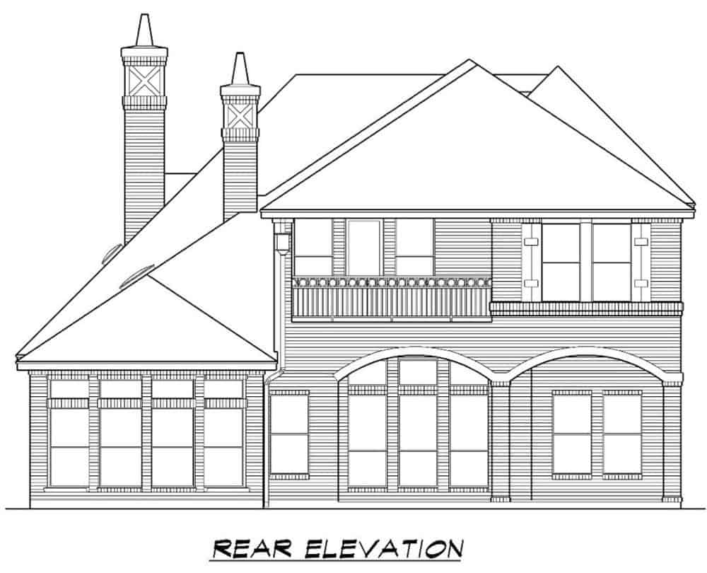 Rear elevation sketch of the 4-bedroom two-story Mediterranean home.