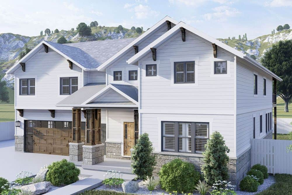 Front-right rendering of the 4-bedroom two-story modern farmhouse.