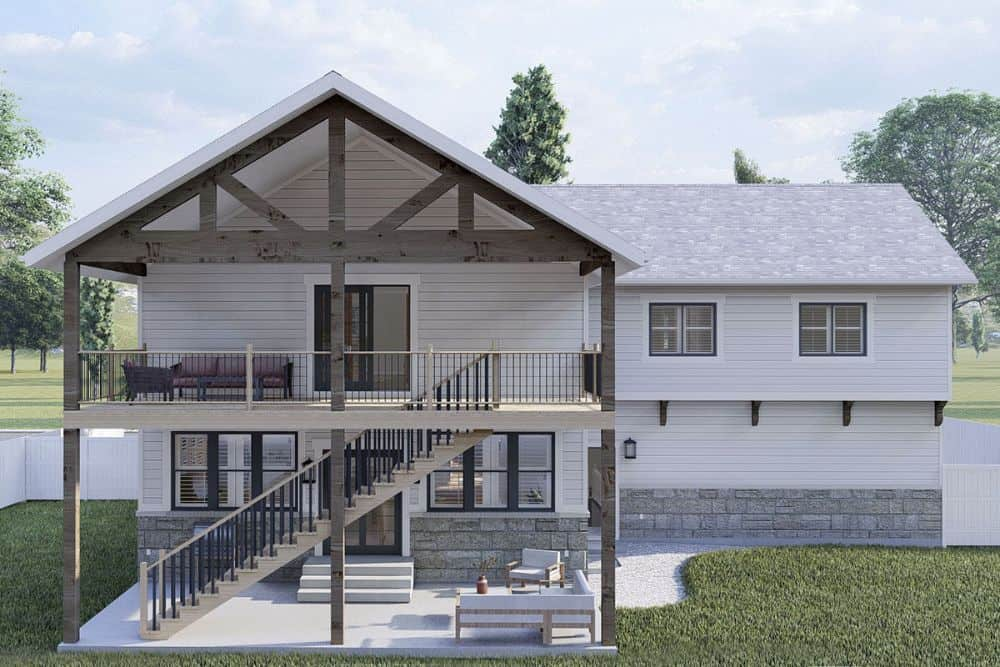 Rear rendering of the 4-bedroom two-story modern farmhouse.