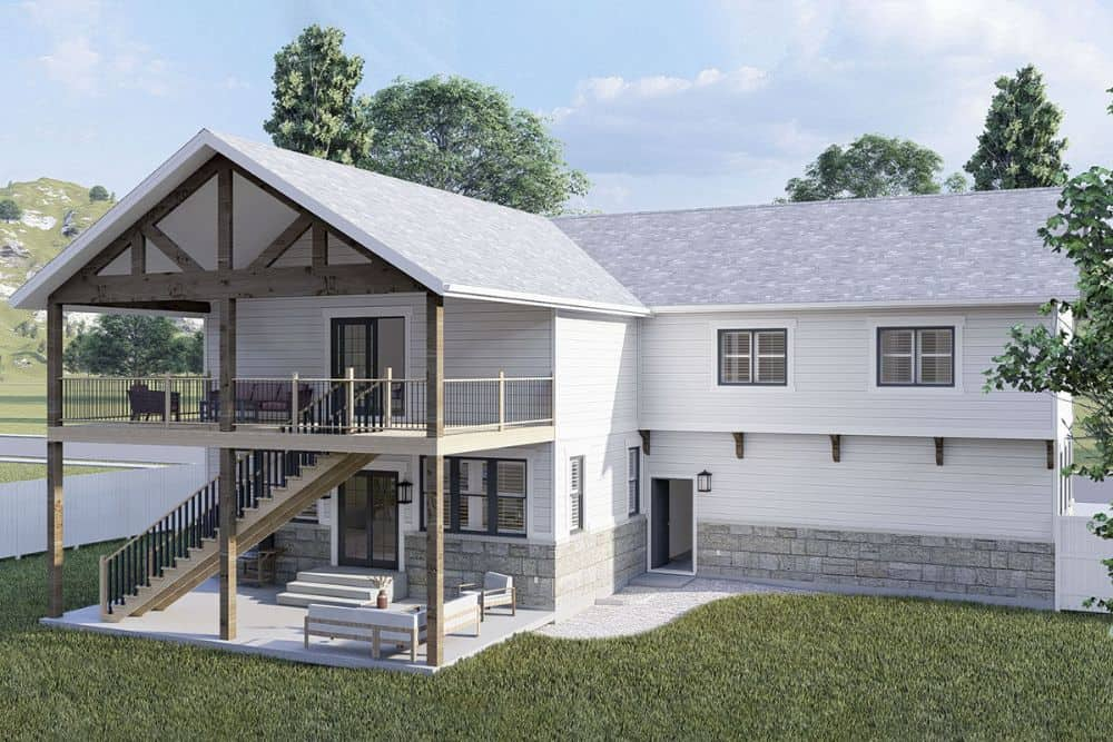 Rear-left rendering of the 4-bedroom two-story modern farmhouse.