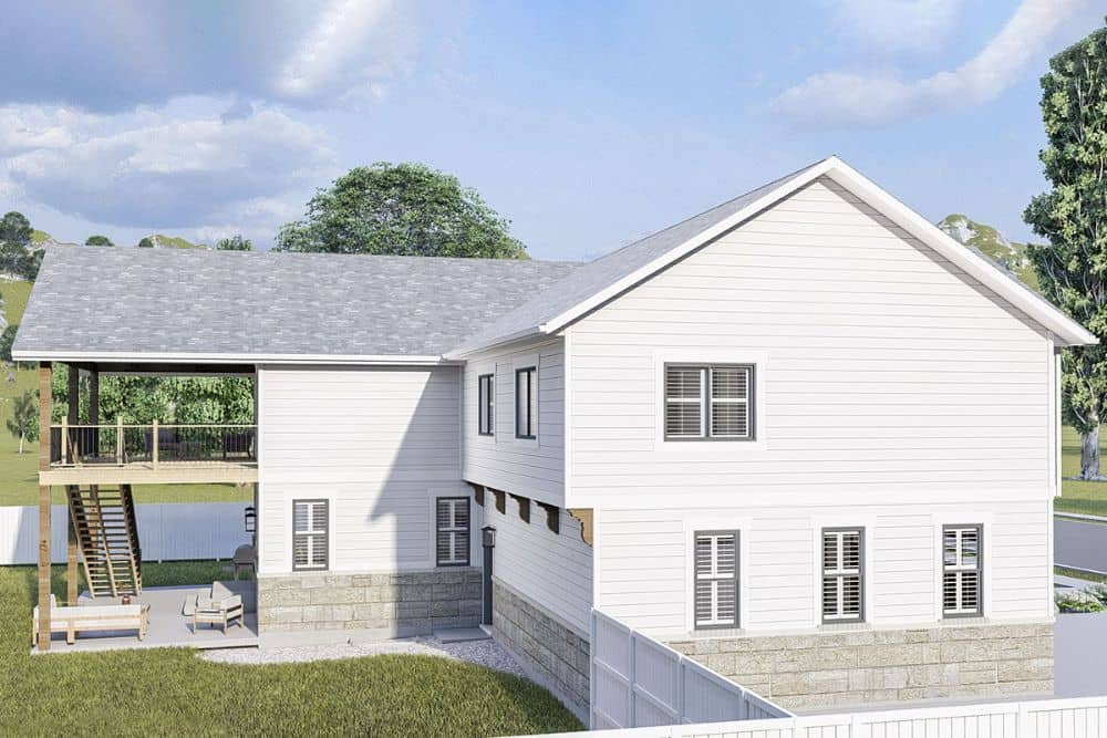 Left rendering of the 4-bedroom two-story modern farmhouse.