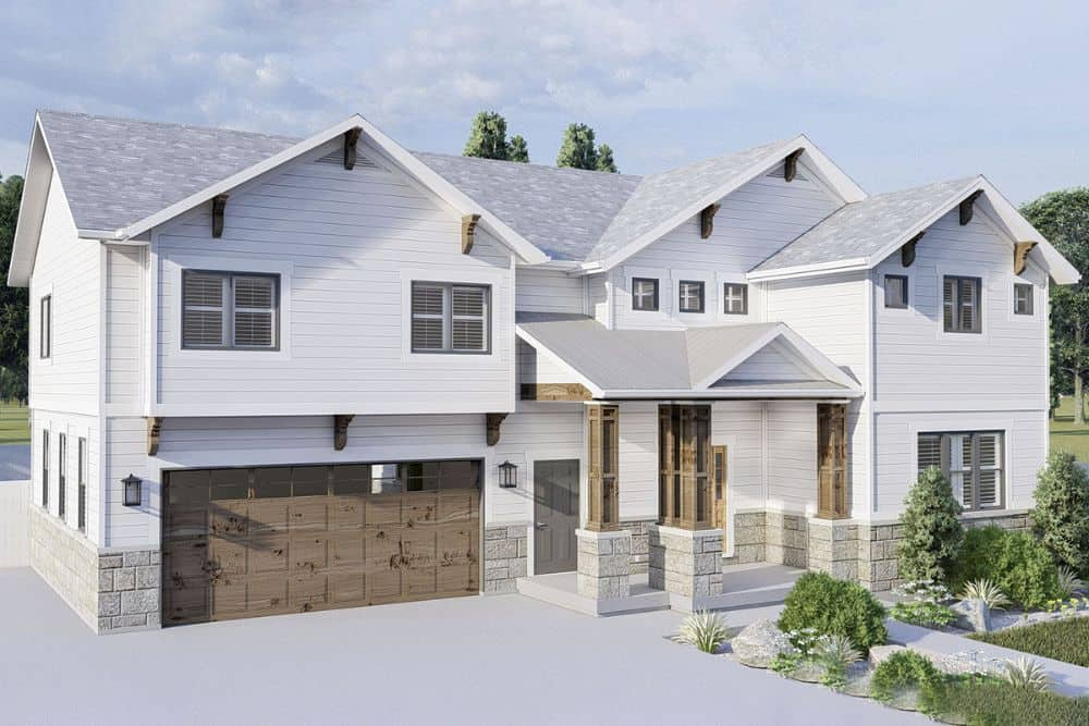 Front-left rendering of the 4-bedroom two-story modern farmhouse.