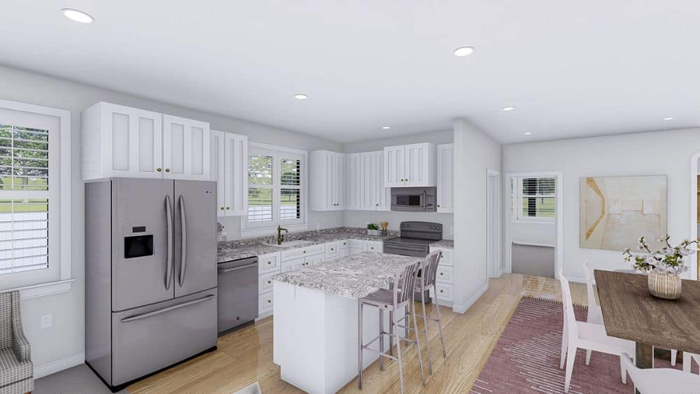 Recessed ceiling lights along with natural light from the louvered windows brighten the eat-in kitchen.