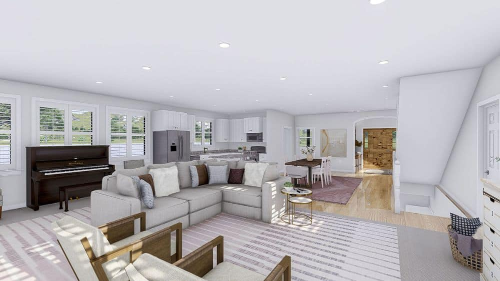 The family room opens completely to the dining area and kitchen.