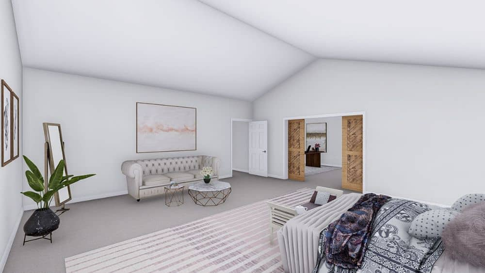 The primary bedroom includes a sitting area and an office concealed behind the double barn door.
