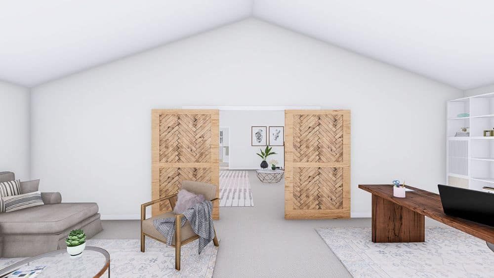 The office features a cathedral ceiling and double wooden barn door arranged in a herringbone pattern.