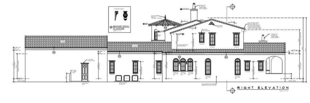 Right elevation sketch of the 4-bedroom two-story Spanish-style home.