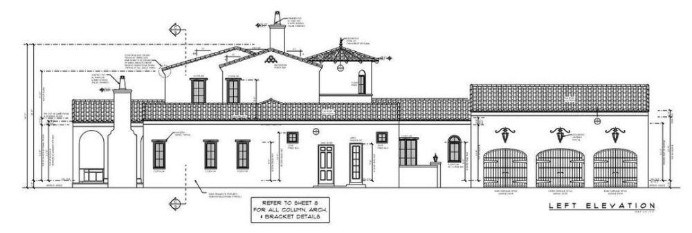 Left elevation sketch of the 4-bedroom two-story Spanish-style home.