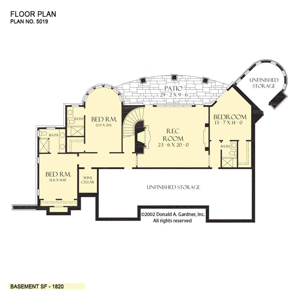 Lower level floor plan with three bedroom suites, a wine cellar, and a recreation room that opens to the rear patio.