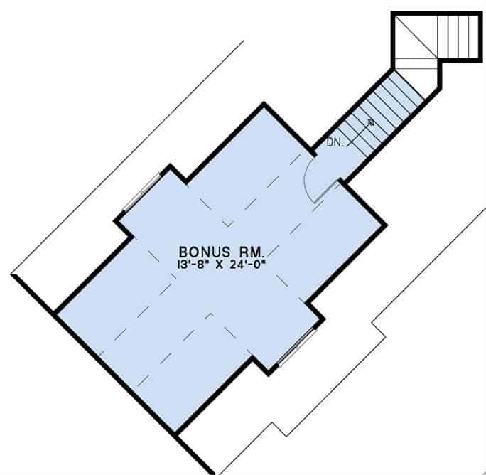 Bonus room floor plan with dormer windows and a staircase leading down the main floor.