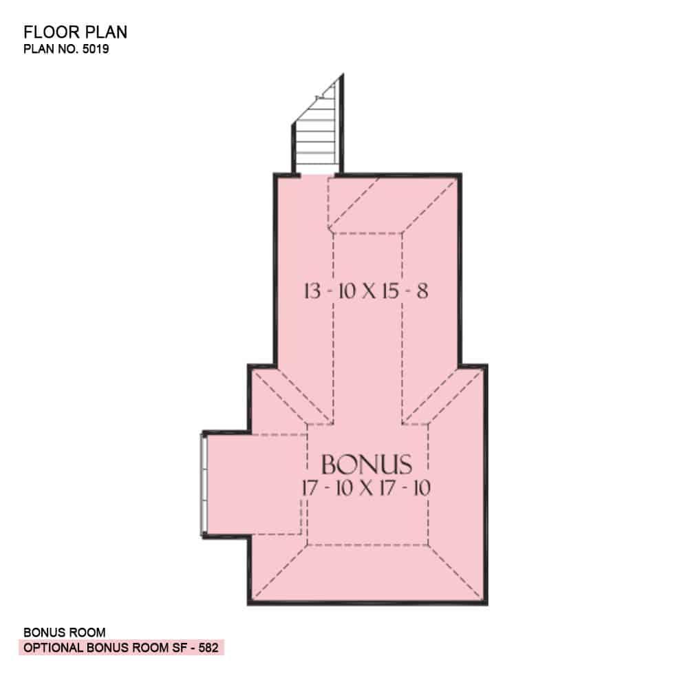 Second level floor plan with a bonus room.