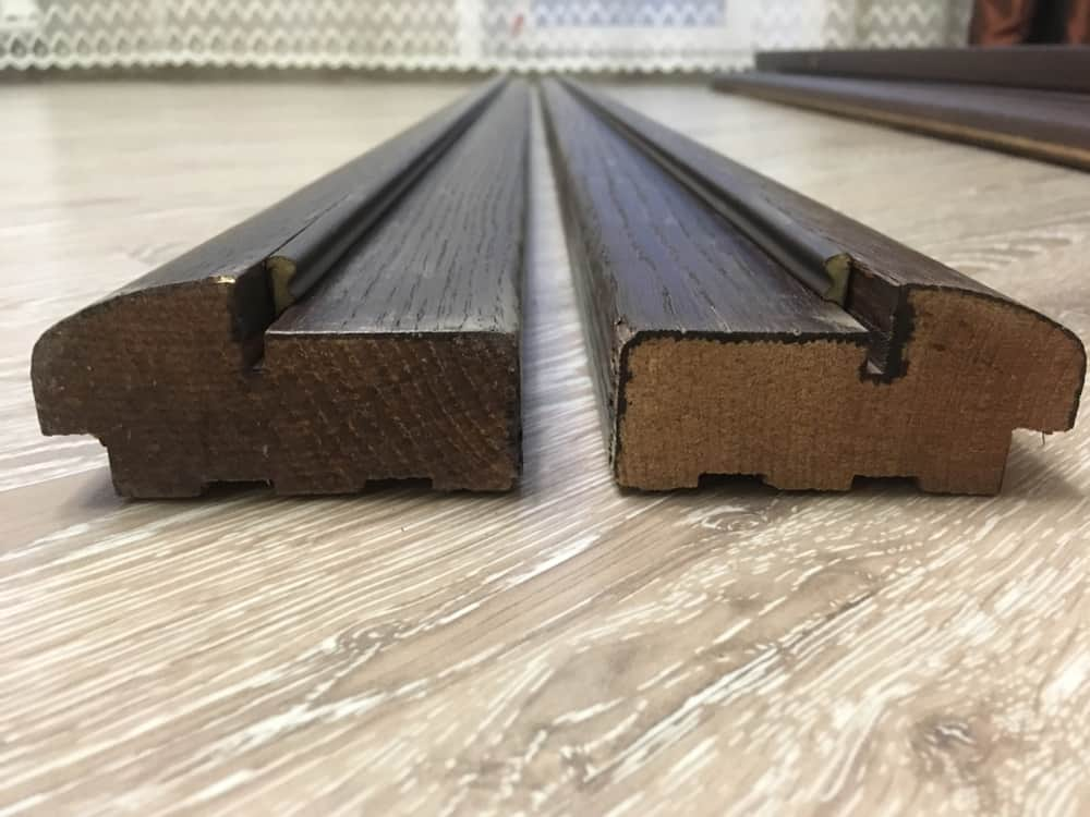 This is a close look at a pair of weatherstrip door frame.