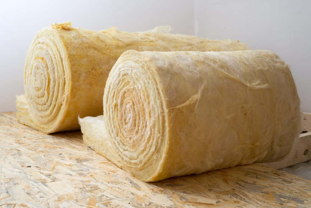 This is a close look at a couple of rolls of Mineral Wool.
