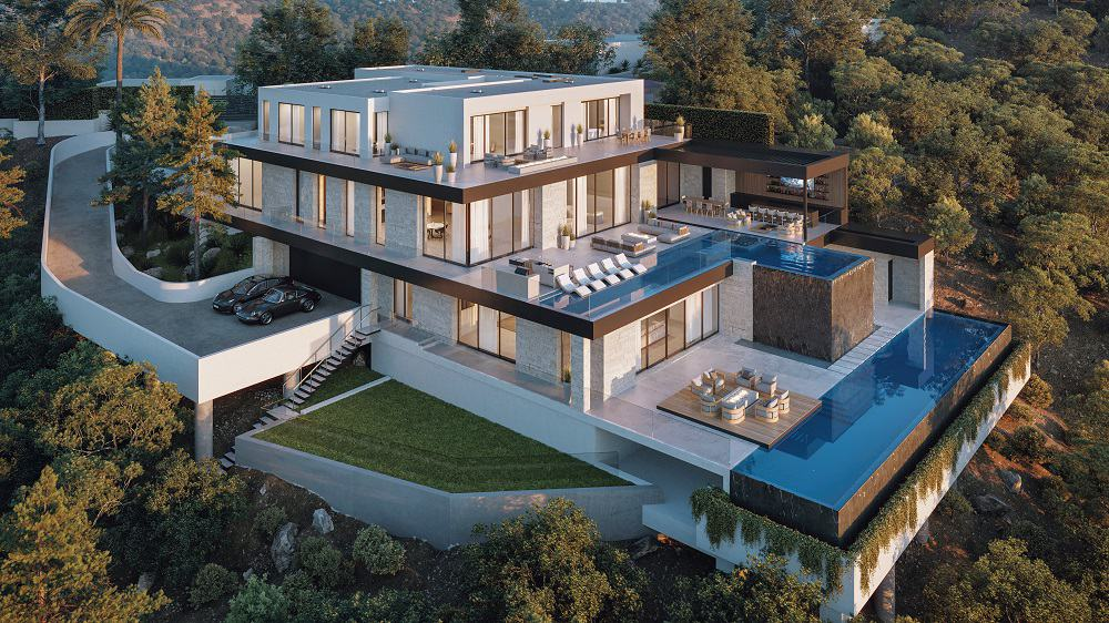 This is an aerial view of the house showcasing two levels of terrace swimming pools facing the view as well as an abundance of outdoor areas. Image courtesy of Toptenrealestatedeals.com.