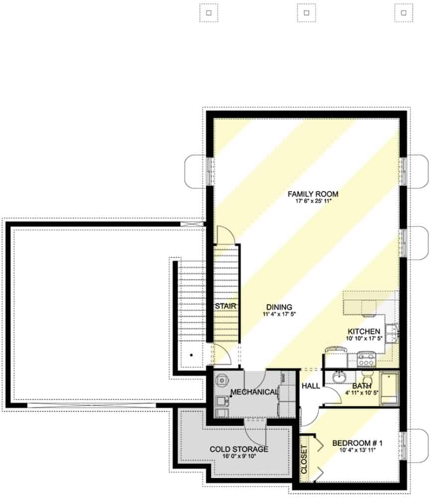 Lower level floor plan with a 1-bedroom apartment including a mechanical room and cold storage.