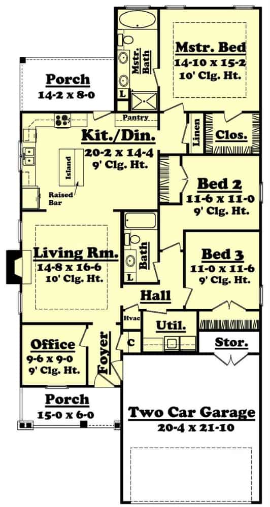Main level floor plan of a 3-bedroom single-story craftsman home with front and rear porches, foyer, living room, combined kitchen and dining, utility room, primary suite and two secondary bedrooms.