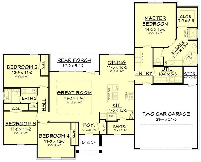Entire floor plan of a 4-bedroom single-story Acadian style home with foyer, great room, kitchen, dining area, four bedrooms, utility room, and a mudroom leading to the double garage.