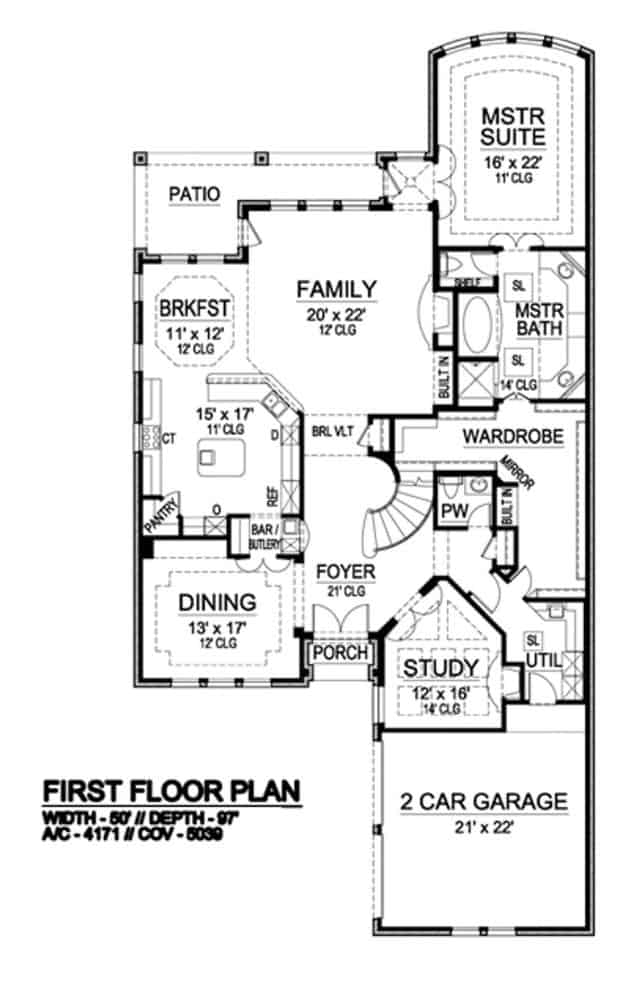 Main level floor plan of a 4-bedroom two-story Mediterranean home with front and rear porches, foyer, formal dining room, family room, kitchen, breakfast nook, study, primary suite, and utility room that leads to the double garage.
